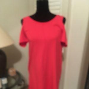 Cute Red Casual Long T-Dress. Cross back.
